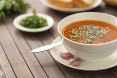 与菜和草本的鸡汤在一个白色碗 免版税图库摄影