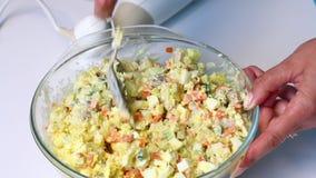 与菜和蛋黄酱的俄国肉沙拉 妇女与沙拉的成份混合蛋黄酱 股票视频
