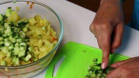 与菜和蛋黄酱的俄国肉沙拉 妇女加在一个容器的切的黄瓜用沙拉 影视素材