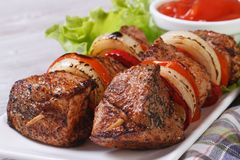 与菜和调味汁正面图的烤肉串 库存图片