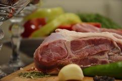 与菜和香料的新鲜的肉 图库摄影