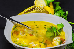 与菜和鱼的可口汤在黑背景 免版税库存照片