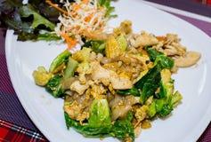与菜和鸡的泰国样式面条 库存图片