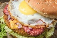 与菜和鸡蛋的汉堡包 库存图片