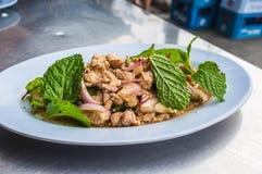 与菜混合的猪肉 免版税图库摄影