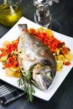 与菜的一条被烘烤的鱼 免版税库存照片