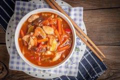 与菜的中国鸡 库存图片