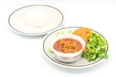 与菜的北泰国肉和蕃茄辣垂度 免版税库存图片