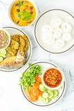 与菜的北泰国肉和蕃茄辣垂度 免版税库存照片