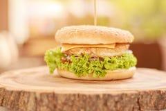 与菜的可口鸡汉堡 免版税库存图片