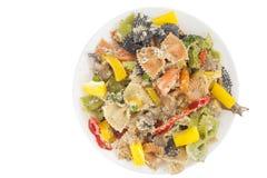 与菜的开胃色的farfalle面团 免版税库存图片