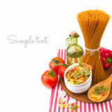 与菜的意大利面团 免版税库存图片