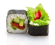 与菜的日本寿司 免版税库存照片