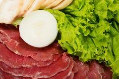 与菜的未加工的新鲜的切的肉 库存照片