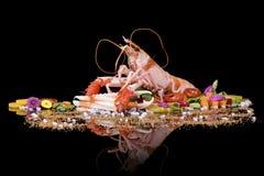 与菜的未加工的蝉虾在与反射的黑背景 库存照片