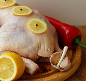 与菜的未加工的鸡 免版税库存图片