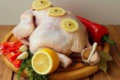 与菜的未加工的鸡 图库摄影