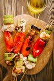与菜的烤季节肉在串 免版税库存照片