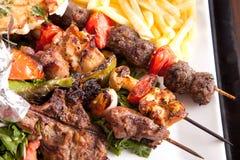 与菜的烤混合肉 库存图片