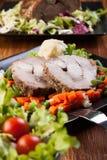 与菜的烤猪肉 免版税库存图片