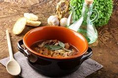 与菜的煮沸的肉 免版税库存照片