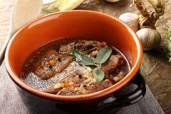 与菜的煮沸的肉 库存照片