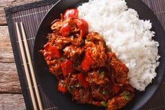 与菜的猪肉和装饰在亚洲样式的米 水平 免版税图库摄影
