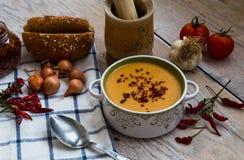 与菜的红色小扁豆汤在木背景 库存图片