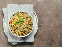 与菜的花椰菜米 复制空间 免版税库存图片