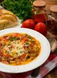 与菜的蔬菜通心粉汤意大利汤在棕色木桌上 库存照片