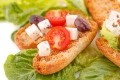 与菜的面包干 免版税库存照片