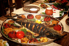 与菜的鱼 库存照片