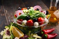 与菜色拉盘的构成 平衡饮食 库存照片