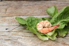 与菜绿色的虾在木背景离开 免版税库存图片