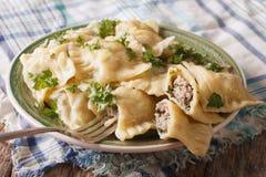 与菠菜和肉接近的德国馄饨Maultaschen Horiz 库存图片