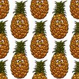 与菠萝字符的无缝的背景 免版税图库摄影