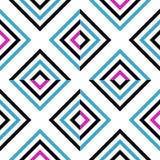 与菱形元素的无缝的几何色的条纹图形 库存照片