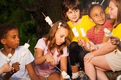 与营火款待的孩子在野营期间 免版税库存照片