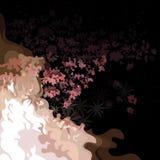 与营火火焰的夜与花的背景和领域 免版税图库摄影