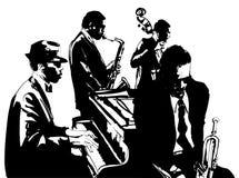 与萨克斯管、二重低音、钢琴和喇叭的爵士乐海报 库存图片