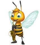 与萨克斯管的逗人喜爱的蜂漫画人物 图库摄影