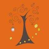 与落的叶子和老灯,传染媒介illustratio的秋天树 库存照片
