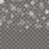 与落的金雪花的圣诞节和新年透明背景 向量 免版税库存图片