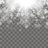 与落的金雪花的圣诞节和新年透明背景 向量 免版税库存照片