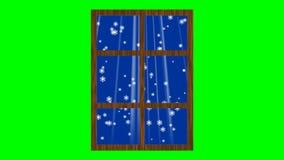 与落的雪和光线的窗口 在绿色屏幕上的动画 库存例证