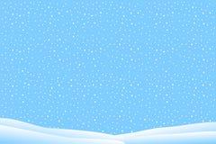 与落的雪的冬天风景 免版税库存照片