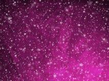 与落的雪的抽象深桃红色的圣诞节背景 免版税库存照片