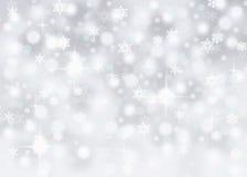 与落的雪花和闪闪发光的银色bokeh摘要背景 库存例证