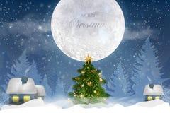与落的雪,与一个冬天风景的雪花的冬天天空蔚蓝与月亮 库存图片