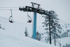 与落的雪从喀尔巴阡山脉的地区,乌克兰,欧洲的一个多雪的冬天场面 库存图片